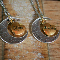 I love you to the Moon and Back Crescent Moon Set for Mother and Daughter, Mother daughter gift set , Moon Pendant Necklace Gift Set