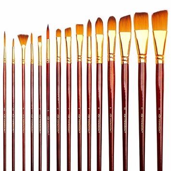 Transon Art Paint Brushes Set 15pcs for Artists with Case for Watercolor, Acrylic, Gouache, Oil, Tempera, Enamel and Body Painting