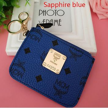 """""""MCM"""" Popular Personality Leather Card Pack Card Bag Card Zipper Mini Thin Card Package Zero Wallet Sapphire Blue I12551-1"""