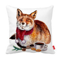 Fox with Coffee and Donuts Pillowcase