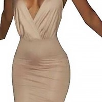 Shut Up And Dance Beige Spaghetti Strap Cross Wrap V Neck Bodycon Midi Dress