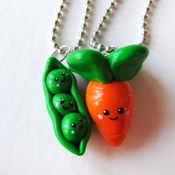 Best Friends Necklaces - Peas and Carrot Charms