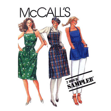 1980s Halter Wrap Apron Dress Pattern Bust 30 to 42 UNCUT McCalls 2 Hour Sampler Tops Tunics Cobbler Aprons Womens Vintage Sewing Patterns