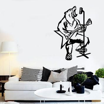 Wall Stickers Vinyl Decal Singing Bear Rock Music Microphone Unique Gift (ig499)