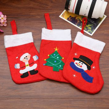 Cartoon Embroidery Christmas Sock Gift Socks Christmas Tree pendant Party Decorations Supplies