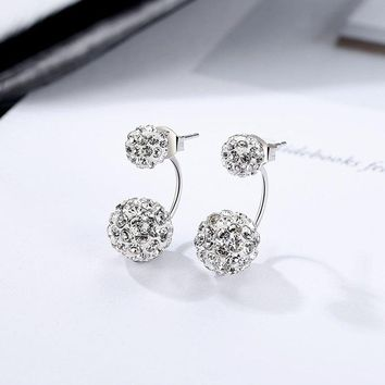 BEAUTY Crystal Ball Earring 925 Sterling Silver Rhinestone Double Ball Earring Jewelry For Women/Mother's Day Gift