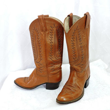 Vintage 80s Dan Post cowboy roper boots size 6 1/2 womens brown leather western boots SunnyBohoVintage