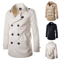 Double Breasted Men Trench Coat with Waist Belt