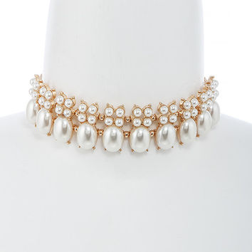 Faux Pearl & Gold Layered Choker Necklace & Earrings Set