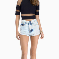 Mesh Embroidered Cutout Short Sleeve Bodycon Cropped Top