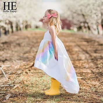 HE Hello Enjoy Pageant Dresses For Girls Clothes Summer Condole Belt Rainbow Sea Beach Princess Dress Kids Girls Clothing 2019
