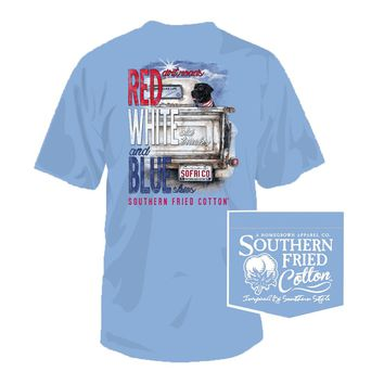 Dirt Roads Tee in Faded Jeans by Southern Fried Cotton