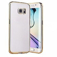 Connect Zone® Soft Ultra-Thin Gel / TPU Flexible Shell Back Cover for Samsung Galaxy S7 Edge (SM-G925F) with Electroplate Plating Bumper Frame Cover Case, Screen Guard and Polishing Cloth - Gold