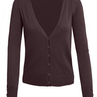 LE3NO Womens V Neck Raglan Cardigan Sweater (CLEARANCE)