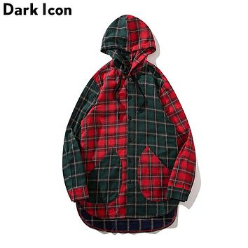 Front Short Back Long Patchwork Flannel Plaid Men's Shirt with Hoodie High Street Color Block Shirt Men Cotton 3 Colors