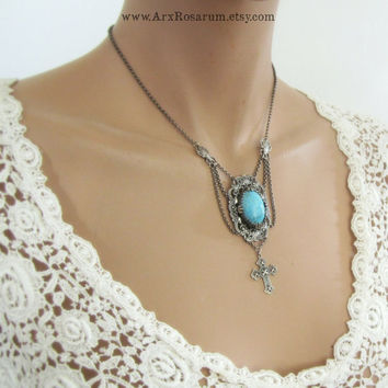 Gothic Necklace - Filigree Scarab Cross - Vintage Glass Turquoise - Silver Victorian Fantasy Choker