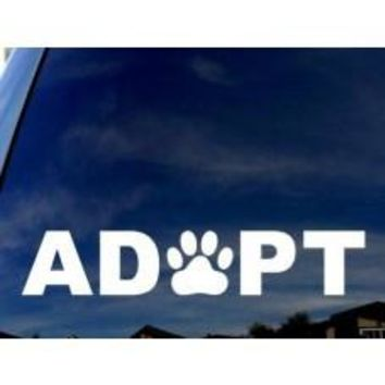 ADOPT Dog Cat Paw Print Car Window Vinyl Decal Tablet PC Sticker