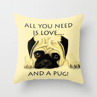 Love and a Pug Throw Pillow by Veronica Ventress