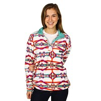 Harbuck Fleece 1/4 Zip Pullover in White and Teal by Southern Marsh