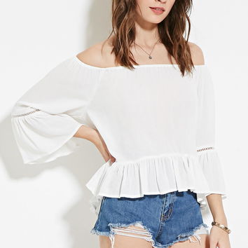 Crochet-Trim Peasant Top - New Arrivals - 2000152708 - Forever 21 UK