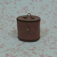 Dollhouse Miniature Shabby Chic Travel Case in Maroon