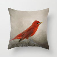 Song of the Summer Tanager 2 - Birds Throw Pillow by Jai Johnson