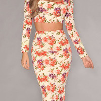 Floral Printed Crop Top + High-Waisted Bodycon Skirt Set