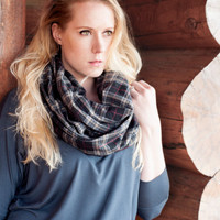 Plaid Infinity Scarf, Black Flannel Scarf, Plaid Circle Scarf, Grey Red Tan Tartan Plaid, Winter Cowl, Womens Scarves Gift For Her Wife