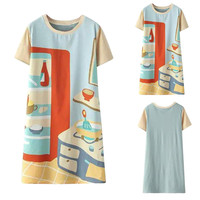 Kitchen Print Short Sleeve A-Line Dress