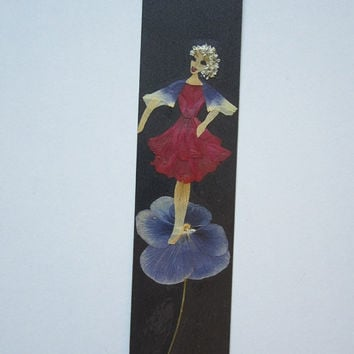 "Handmade unique bookmark ""Poem about night"" - Decorated with dried pressed flowers and herbs - Original art collage."