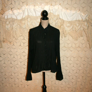 Sheer Black Blouse Long Sleeve Dressy Black Blouse Crinkle Top Romantic Gothic Edgy Goth Top Chiffon Blouse XL 2X Womens Plus Size Clothing