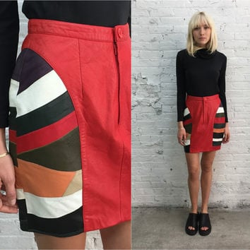 vintage red leather mini skirt / 90s colorblock leather skirt / body con leather skirt / club fashion / hip hop street style