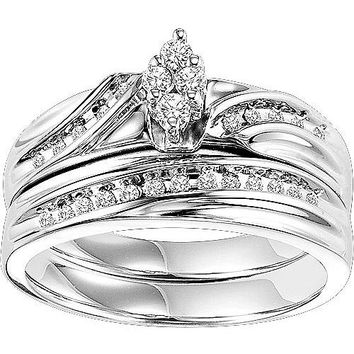 Forever Bride 1/4 Carat T.W. Diamond Sterling Silver Bridal Set