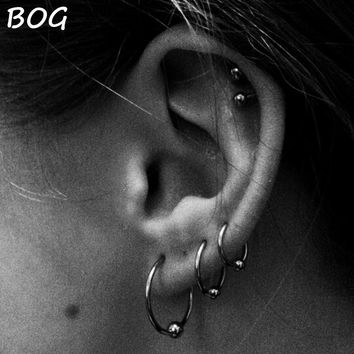 3 Pairs Extra Large Size Surgical Steel Captive Bead Ring Hoop Ring Ear Tragus Cartilalge Piercing Body Jewelry Earring 16g 14g