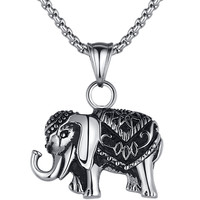 Stainless Steel Thai Elephant Pendant Necklace