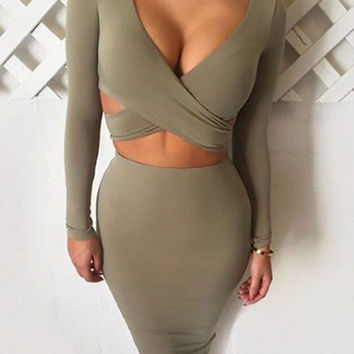 Gray Plunge Neck Open Waist Long Sleeve Bodycon Dress