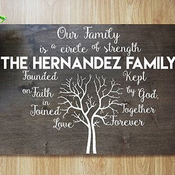 CHRISTMAS FAST SHIPPING- Personalized Family Tree Last Name our family is a circle of strength and love plaque - Beautiful Keepsake Home Decal #M17