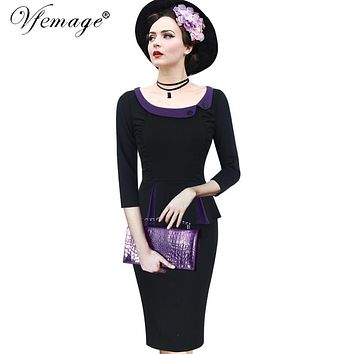 Vfemage Womens Autumn Winter Elegant Ruched 1950s Vintage 3/4 Sleeve Peplum Contrast Work Party Bodycon Wiggle Sheath Dress 8165