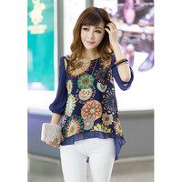 Plus Size Printed Chiffon Blouse in Blue or White