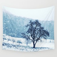 Old pear tree (cool edition) Wall Tapestry by Pirmin Nohr