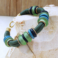Blue Green Soft Leather Bracelet, Goat Leather Bangle with Mint Turquoise Blue Beach Glass and Ceramic Discs, OOAK