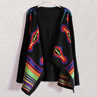 Black Printed  Cape Cardigan