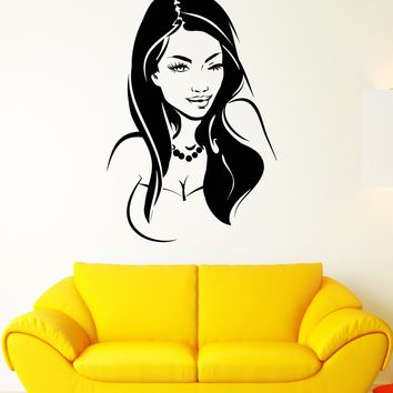 Vinyl Wall Decal Sexy Hot Girl Wink Lips Eyes Face Stickers (2184ig)