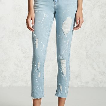Paint Splatter Distressed Jeans