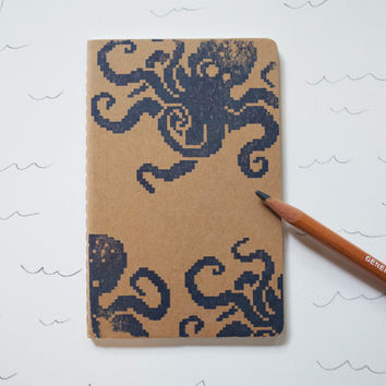 Octopus pocket moleskine, 8 bit nautical notebook