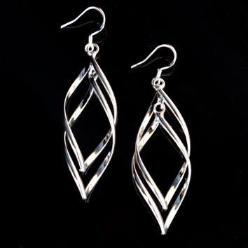 Pink Sterling Silver Drop Earring