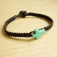 Turquoise Blue Cross Friendshop Bracelet - Gift under 10 - Gift for Him - Unisex Jewelry - Summer Gift