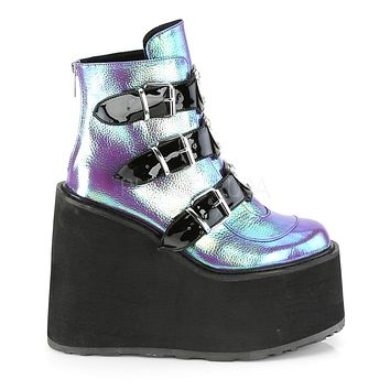 Iridescent Vegan Leather Platform Ankle Boots with Chrome-Plated Straps