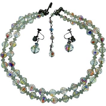 Vintage Crystal Necklace Earring Set Aurora Borealis Rhinestones