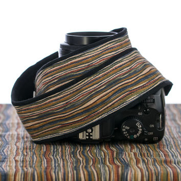 077 Brown Stripe Camera Strap